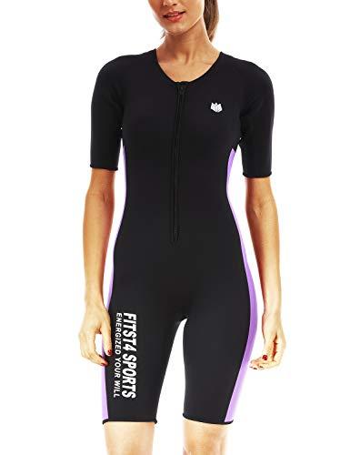 FitsT4 Women's Full Body Sauna Suit Waist Trainer Hot Neoprene Shapewear Sweat Bodysuit with Zipper for Weight Loss