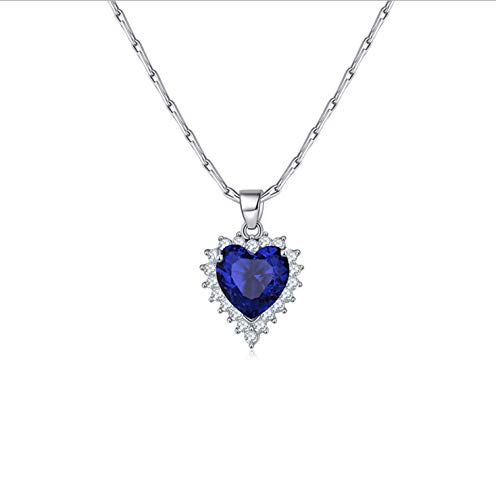 women navy blue or silver white ocean zircon heart pendant necklace women 925 silver necklace gift (navy blue)