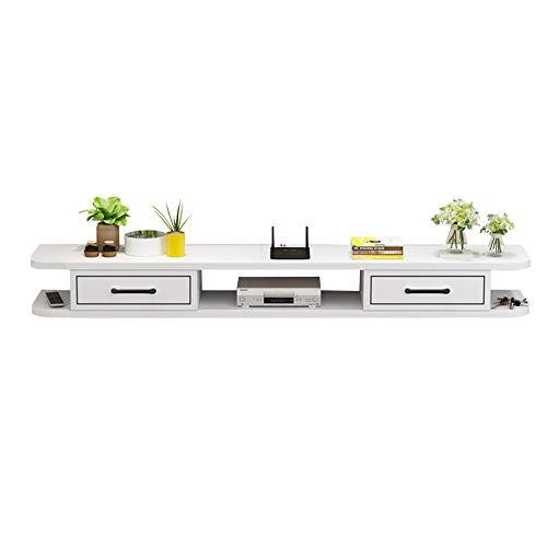 Rack de unidad, rack flotante, rack de almacenamiento de consola multimedia montado en la pared, armario de TV montado en la pared, rack de almacenamiento para componentes de TV, 2 capas/Blanc