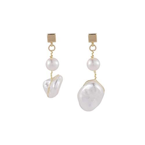 Yhhzw Pendientes Colgantes Geométricos De Perlas De Agua Dulce Para Mujer Joyería Asimétrica