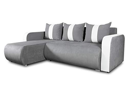Ecksofa Rino mit Schlaffunktion und Bettkasten - L-Form Couch, Polsterecke, Couchgarnitur, Eckcouch, Ecke, Sofa, Sofagarnitur - Ottomane Universal (Enjoy 23 + Cayenne 1111)