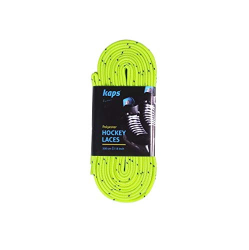 Kaps Profi-Schnürsenkel für Eishockey-Schlittschuhe | Wachsfrei | Aus Polyester | Auch für Inlineskates & Rollschuhe geeignet (274 cm – Zitronengelb)