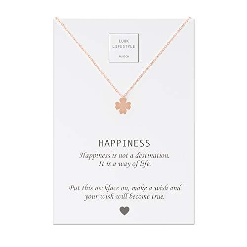 LUUK LIFESTYLE Collar de acero inoxidable con colgante de trébol de cuatro hojas y cita Happiness, joya de mujer, tarjeta de regalo, amuleto, rosé