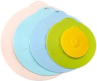 اغطية من السيليكون قابلة للتمدد 5 قطع، متعددة الاستخدامات لتغطية الطعام، غطاء من السيليكون للاطباق والاوعية والمقلاة، ملحق...
