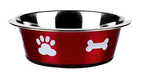 Classic Pet Products Fressnapf, klassisch, Motiv Pfotenabdrücke, 1600ml, Rot