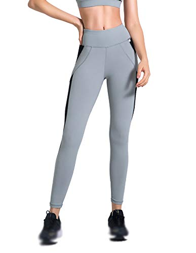 XIAOQSM Pantalones de Yoga Leggings para Mujer, Leggings de Control de la abdomia, Gimnasio de Alta Cintura Deportiva Gris Grey-S