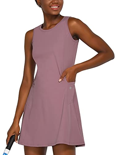 BALEAF Women's Tennis Golf Dress Sleeveless with Inner Shorts 4 Pockets for Exercise Workout Purple M