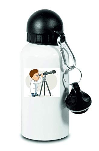 Drucklebnis24 – Botella – Prismáticos científicos Galaxy – para niños, escuela, deporte, fitness – Botella de agua fina de aluminio, color Blanco, tamaño 500 ml
