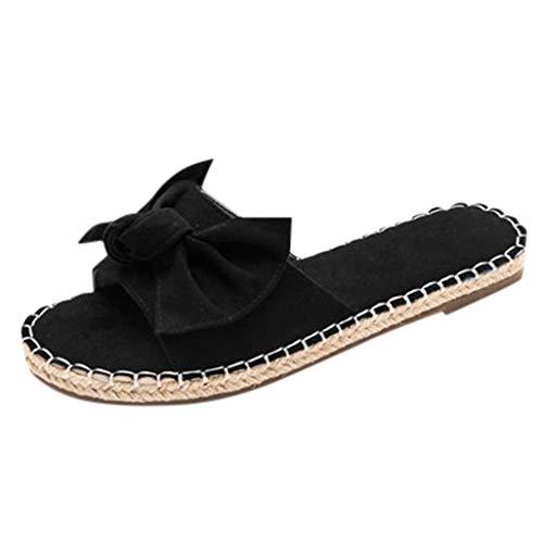 BIBOKAOKE Damen Sommer Pantoletten Sandalen mit Schleifen Knoten Streifen Braided Flache Sandale Freizeit Bequeme Flat Heel Hausschuhe Hallenschuhe Outdoor Peep Toe Sandalette