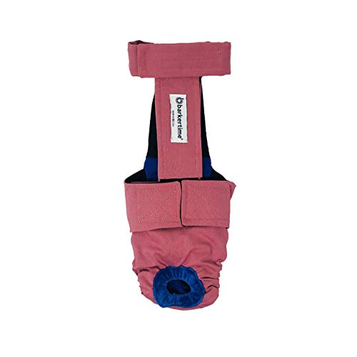 Barkertime Premium Waterproof Dog Diaper Overall - Made in USA - Dusty Rose Escape-Proof Waterproof Premium Dog Diaper Overall
