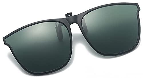 Lentes con Clip Sunglasse Polarizadas abatibles Montura Grande Protección UV Gafas de Sol Gafas graduadas con Clip Gafas de visión de Alta definición (Color : Dark Green)