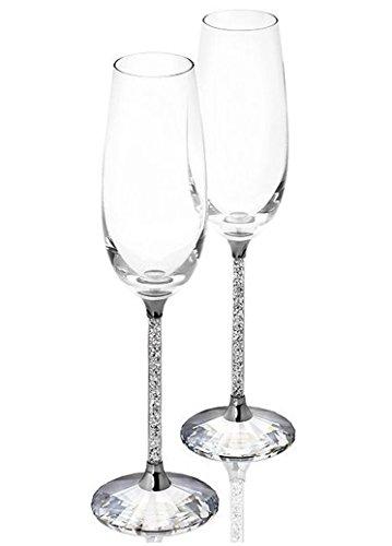 Bicchieri di champagne - set di 2 con cristalli Swarovski - decorazione - matrimonio - anniversario - inaugurazione della casa