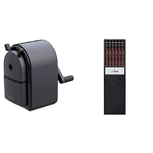 【セット買い】三菱鉛筆 鉛筆削り KH-20 手動式 黒 KH20.24 & 鉛筆 ハイユニ 2B 1ダース HU2B