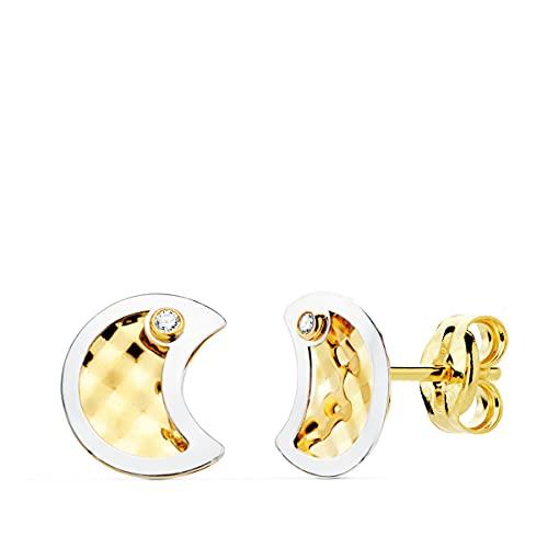 Orecchini da bambina in oro bicolore 18 K Moon 8 mm
