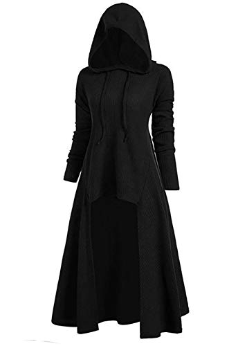 Women' s Hooded Ribbed Sweater Long Sleeve High Low Hem Drawstring Hoodie Outerwear Tops Plus Size Black L