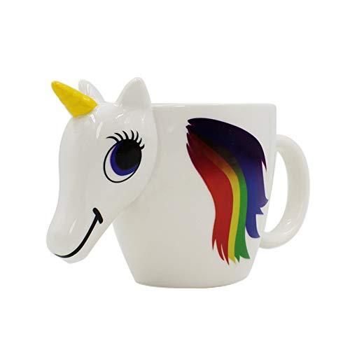 Ruiting Copa Sensible al Calor Unicornio Tazas de 350 ml de la Novedad del té del café niños y Regalo 3D Taza de cerámica cambiante del Unicornio de Color