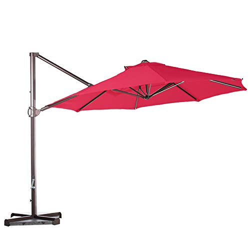 Formosa Covers Replacement Umbrella Canopy for 11ft Supported Bar Cantilever Market Outdoor Patio Shade in Red (Canopy Only) (11ft 8 ribs)