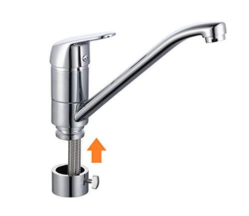 EYCKHAUS MB35210 Luca abnehmbarer Wasserhahn für die Küche, Spültischarmatur Mischbatterie Vorfenster-Montage, für die Spüle am Fenster, Schläuche flexibel, Chrom