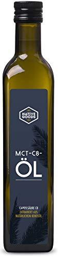 MCT C8 Öl aus natürlichem Kokosöl 500ml | 99,9 % Caprylsäure C8 | 100% natürlich | geschmacksneutral | Ketogene Ernährung - Bulletproof Coffee - vegan | native goods