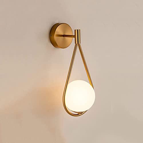 NAMFHZW Iluminación interior nórdica Lámpara de montaje en pared de metal Pantalla de bola de...