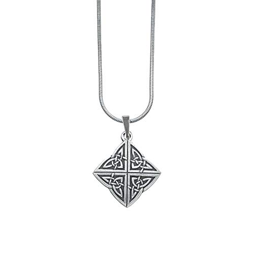 DANFORTH - Celtic Knot Necklace - Pewter Pendant - Handcrafted - 18 Inch Sterling Snake Chain - Made in USA