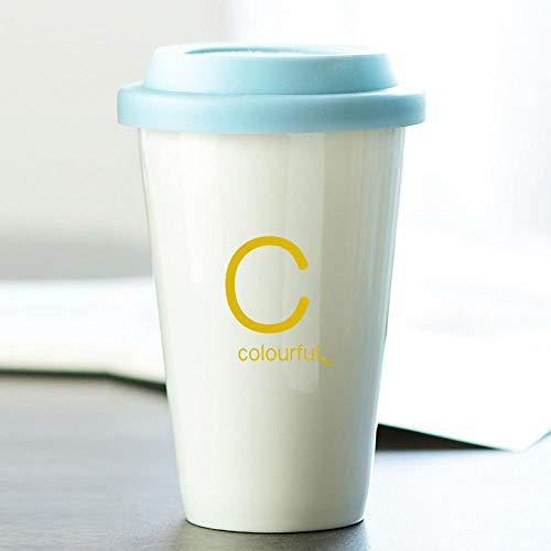 Dollin&Dockin Keramik Tasse Bone China Kaffeetasse Weiß Double Layer Anti-Verbrühungen Silikonüberzug Car Cup Schreiben Mode C Einfaches Geschenk Box Europäische Retro Kreative Exquisite Tischkultur