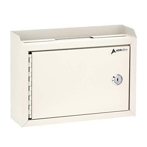 "AdirOffice Wall Mountable Steel Suggestion Box with Lock - Donation Box - Collection Box - Ballot Box - Key Drop Box 9.75"" x 7"" x 3"" (White)"
