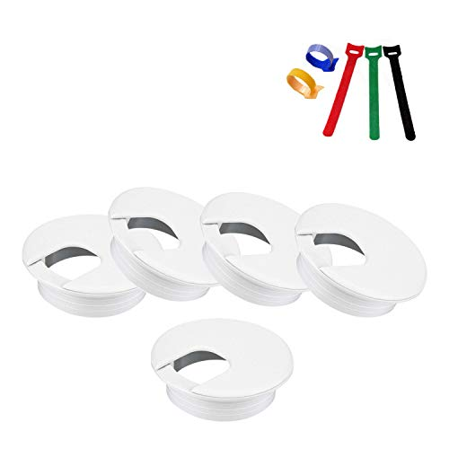 Desk Grommet ABS Cable Hole Cover 2 inch Computer Table Cord Wires Organizer with Storage Tape, Solid and Durable Desktop Cord Management for Home Office TV Stands Tabletops, White(5 Pack)
