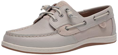 Sperry Women's Songfish Saffiano Leather Boat Shoe, Ivory, 8 Medium