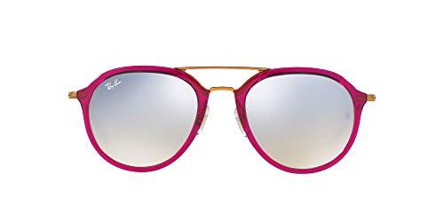 Ray-Ban Rb4253 Óculos de sol quadrados, Rosa / Prata dégradé Flash, 53 mm