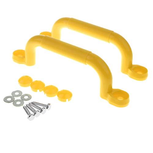 Generic Manijas de Seguridad Antideslizantes para Juegos Infantiles de 4 Colores 2 Piezas con Kits de Fijaciones Columpio - Amarillo