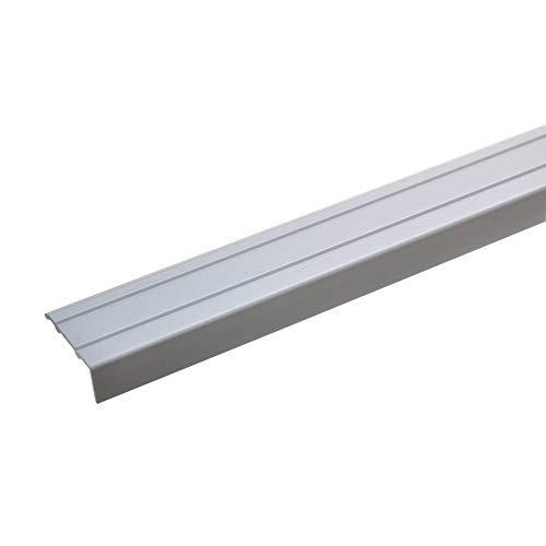 acerto 32012 Aluminium Stufenkanten-Profil - 100cm x 24,5mm – Silber * 10mm Höhe* Rutschfest * Robuster Kantenschutz | selbstklebendes Treppenkanten-Schutzprofil für Laminat, PVC | Rutschhemmend Alu