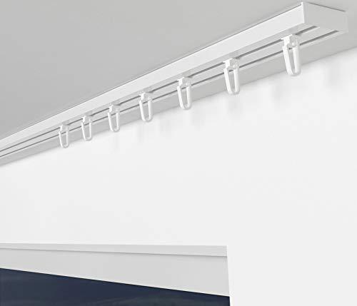 ALOHA Gardinenschiene aus Aluminium Vorhangschienen, Deckenbefestigung 2, 3, 4 -läufig für Schiebevorhänge, Vorhänge (RIO / 2-läufig / 120cm / mit Faltenlegehaken / Weiß)