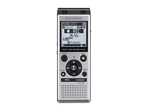 Olympus WS-852 Enregistreur vocal numérique de haute qualité avec microphones stéréo, 7 scènes d'enregistrement, recherche par calendrier, USB direct, filtre vocal, support intégré et mémoire de 4 Go
