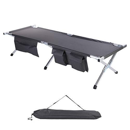 TOPKIN Camping Cot, Lightweight Aluminum Camping Cot with Side Pockets & Storage Bag and Portable Folding Cot Bed Used for Camping Hunting, Beach, Barbecue, Hiking, Backpack, Office