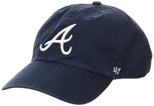 47 Brand Erwachsene Mlb Atlanta Braves Clean Up Kappe, Navy, OSFA