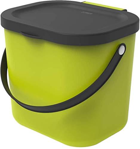Rotho Albula Cestino bio 6l con Coperchio e Manico per la Cucina, Plastica (PP) Senza BPA, Verde Chiaro/Antracite, (23,5 x 20,0 x 20,8 cm)