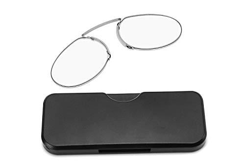 GHzzY klem neus rusten knijpen leesbril voor mannen en vrouwen - armloze leesbril met hoesje - draagbare lezers