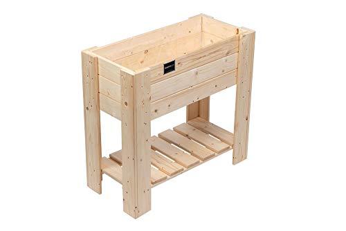 Schroth Home Hochbeet Compact Bausatz 80 x 80x 40 cm rechteckig – Hochbeet Holz mit Ablage – Hochbeet für Balkon Garten – inkl. Gratis Pflanzfolie