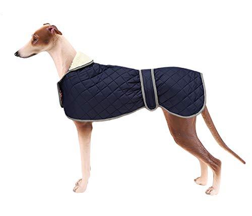 Caldo cappotto termico trapuntato levriero con foro per imbracatura, cappotto invernale per cani con fodera in caldo pile
