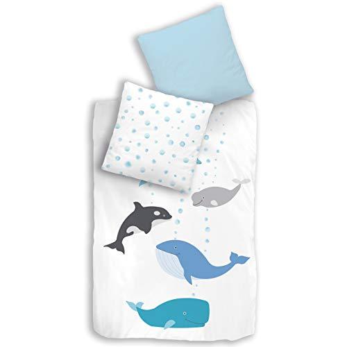 termana MEERESTIERE Bettwäsche Set · Kinder-Bettwäsche für Jungen & Mädchen · Ozean Delfin & Wal · Meer · Kissenbezug 80x80 + Bettbezug 135x200 cm - 100% Baumwolle