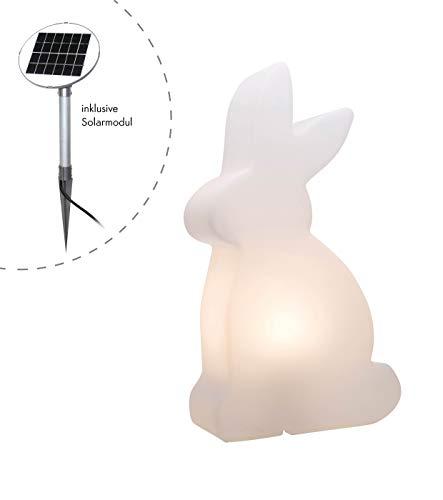 8 seasons design| LED Außenleuchte Hase Solar Shining Rabbit (50 cm groß, warmweiß, Dämmerungssensor, externes Panel, Gartenleuchte, Outdoor) weiß