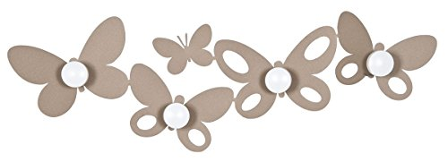 ARTI E MESTIERI - Appendiabiti Parete Metallo Farfalle Butterfly Beige - 73x22H cm