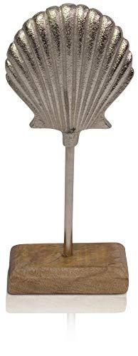 CHICCIE Coquillages décoratifs sur Socle en Bois de manguier 25 cm en métal