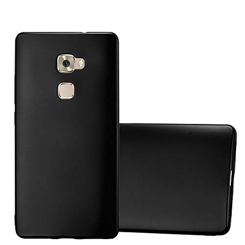 Cadorabo Hülle für Huawei Mate S - Hülle in METALLIC SCHWARZ – Handyhülle aus TPU Silikon im Matt Metallic Design - Silikonhülle Schutzhülle Ultra Slim Soft Back Cover Case Bumper