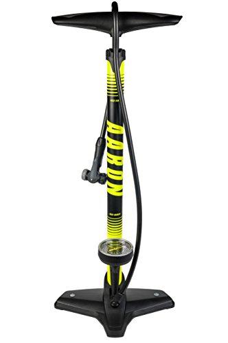 AARON Sport One - Pompa a Pavimento per Bicicletta - Alta Pressione con manometro per Tutte Le valvole - Adattatore Pallone Incluso - per Bici elettrica, Mountain Bike, da Corsa, ECC. - Giallo