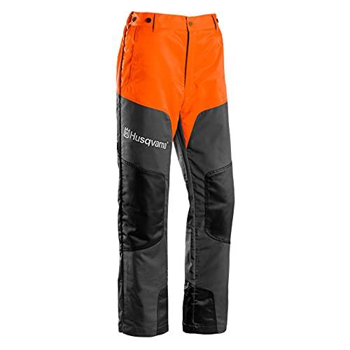 Husqvarna - Pantaloni da lavoro dotati di tasche con chiusura a zip e bottoni per le bretelle, protezione antitaglio classe 1 (20 m/s), ideali per attività di potatura, nero (nero), 44-46'