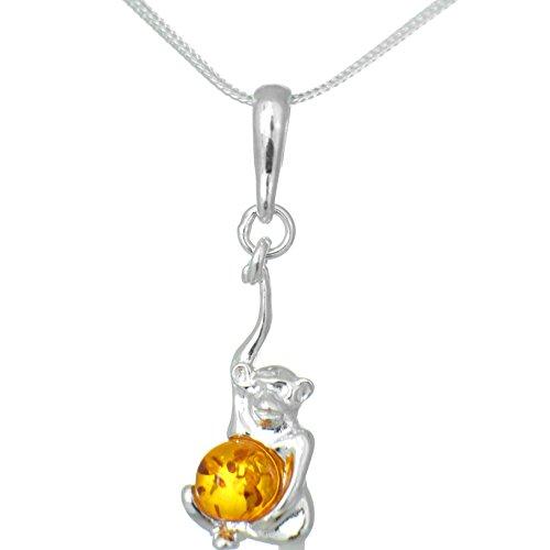 Echt Silber Ketten-anhänger Affe mit Naturbernstein Amber #402