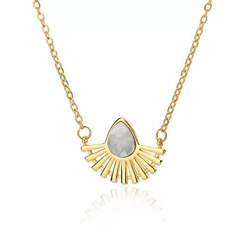 Colgante de collar Collares de lágrima de piedra natural para mujer columpio con forma de abanico delicado acero inoxidable cadena de color dorado gargantilla regalo de joyería Regalo para ella