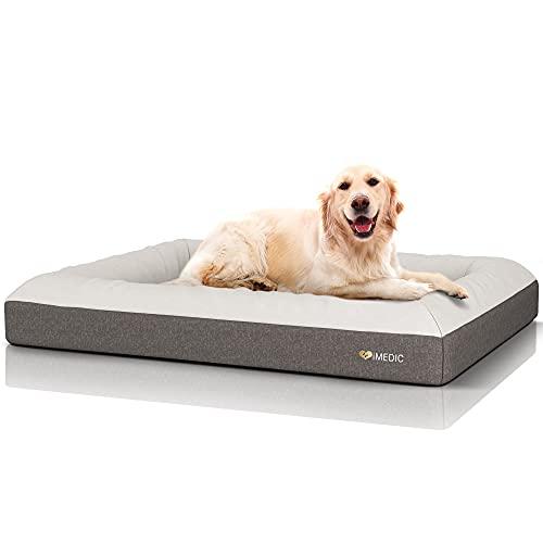 iMedic Premium Memory Foam Dog Bed XL - Orthopaedic Dog Bed - Dog Beds Large Washable, Waterproof Dog Bed - Deluxe Finish Dog Cushion - Extra Large Dog Bed For Large Size Dogs 27-42kgs - 113x88cm